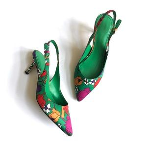 Green floral sling back kitten heels